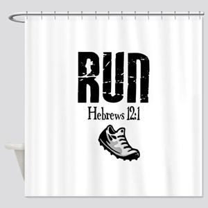 run hebrews Shower Curtain